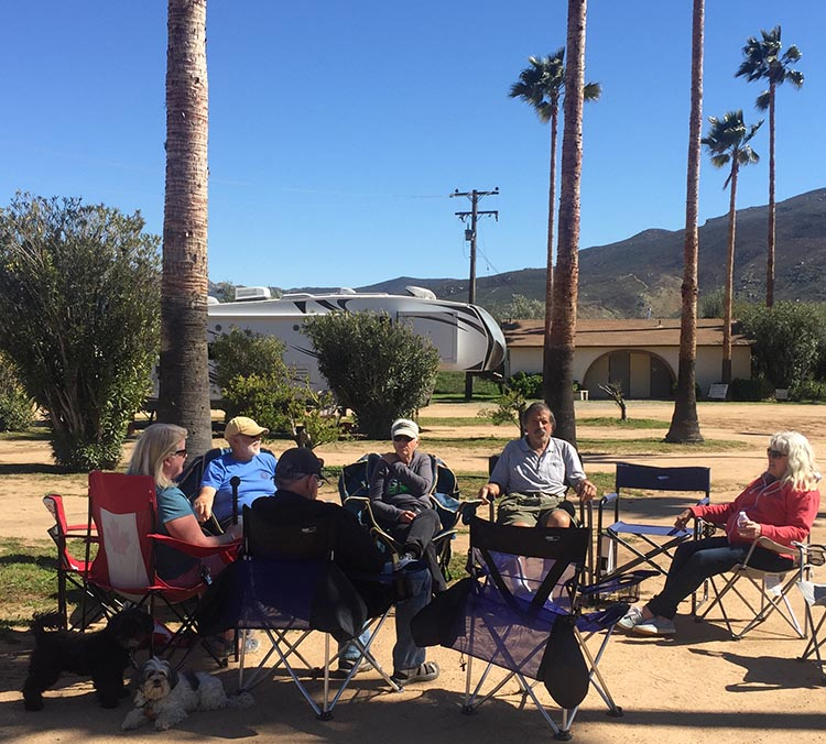Our Return RV Caravan Trip from Baja California: Santispac Beach to Tecate. Here is the group chatting at Sordo Mudo RV park, on our last evening together