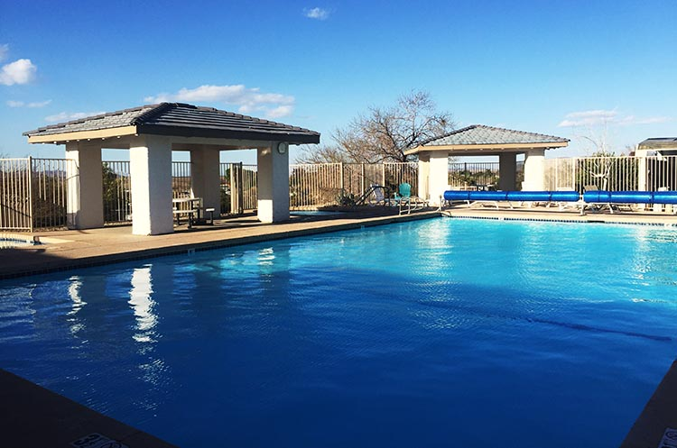 Another view of the pool and hot tub at Arizona Oasis RV Resort