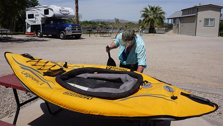 Getting our Advanced Elements Lagoon inflatable kayak ready for kayaking on the Colorado River