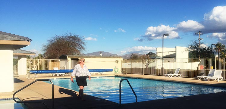Here I am, checking out the pool on day 1 at Arizona Oasis RV Resort
