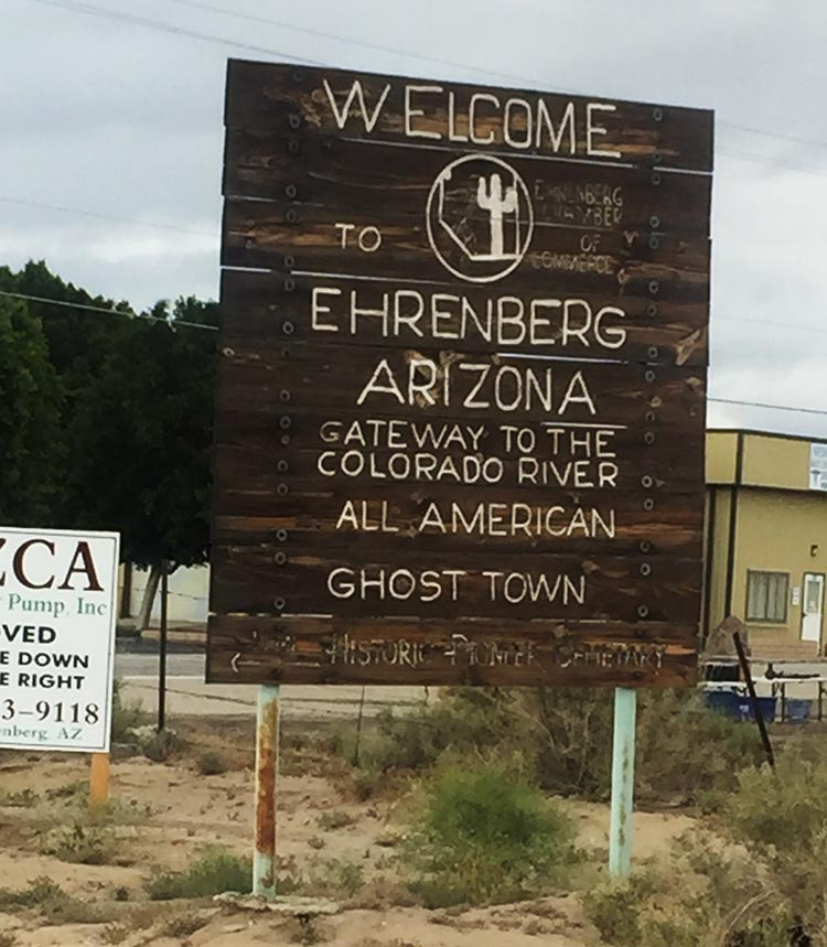 The Arizona Oasis Resort is in Ehrenberg, which is officially a ghost town