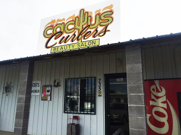 This is the Cactus Curlers beauty salon in Quartzsite
