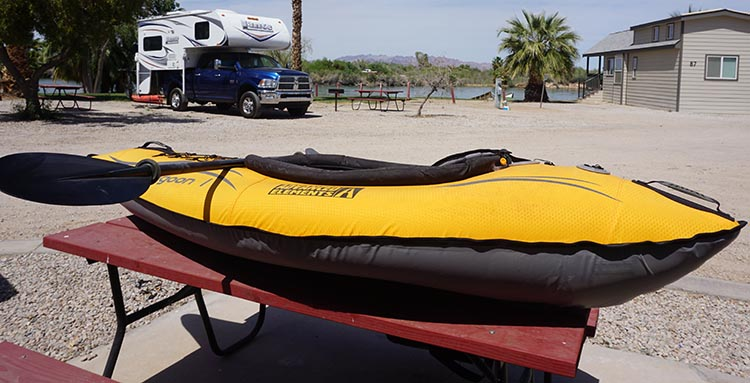 Here is our Advanced Elements Lagoon Kayak on a table at Arizona Oasis, just before we started deflating it