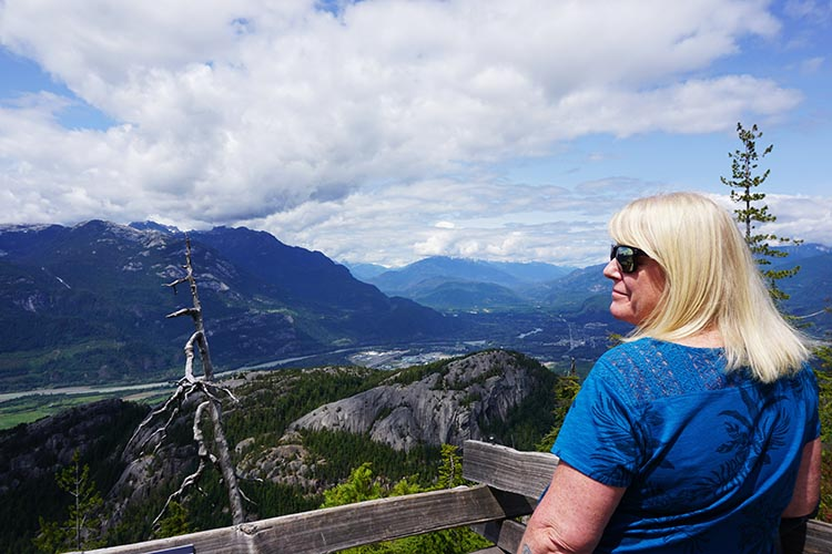 This is Maggie, enjoying the view from the summit of the Sea to Sky gondola ride