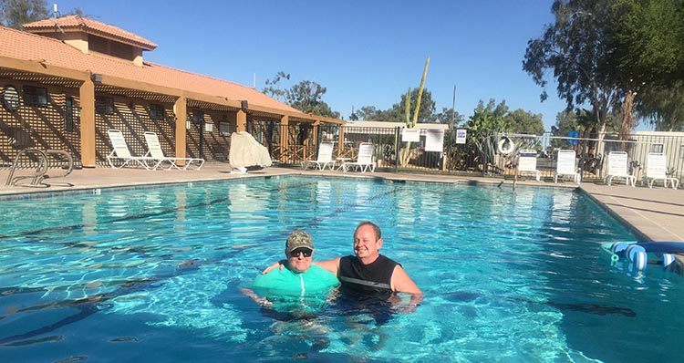 The pool at Rio Bend RV Resort and Golf Course is among the Top 3 Resort pools we have found on our RV travels