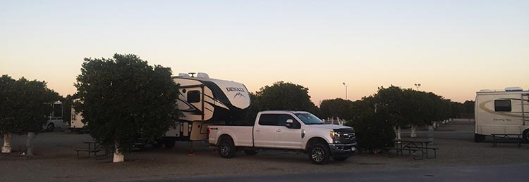 Here is our rig parked at the very pleasant Orange Grove RV Resort, near Bakersfield, California