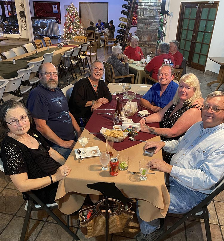 Here we are celebrating Maggie's birthday at La Vaquita, one of the best restaurants in the San Felipe area. It is right next to El Dorado Ranch. With us are (from left): Patricia, Rick, Peggy, me, Maggie, and Ron