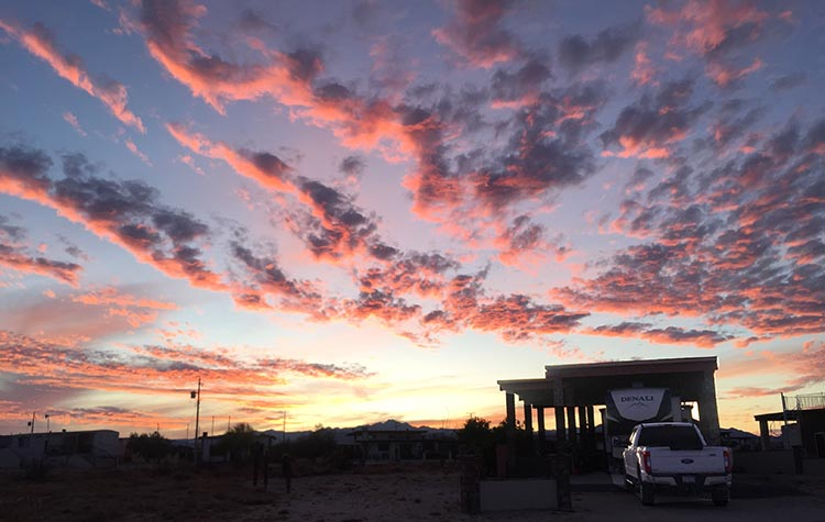 Towing Our RV from California to El Dorado Ranch, Mexico - Crossing the Mexicali East Border. Our rig at El Dorado ranch at sunset. The sunsets are usually magnificent over the desert