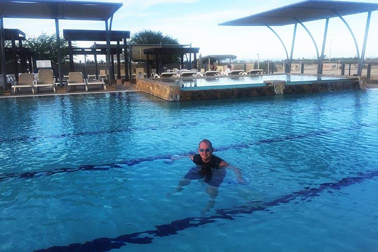 Joe absolutely loves the Olympic sized main pool at El Dorado Ranch