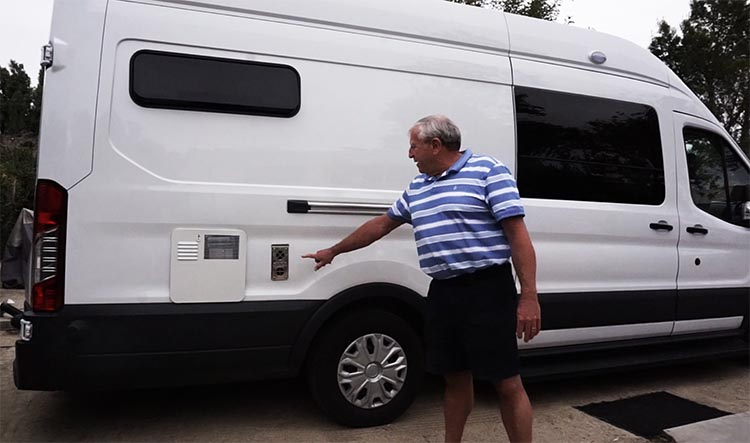 Video of Camper Van Conversion: How Marty Converted a Ford Transit into an RV Camper Van. Marty points out the water heater and furnace vents