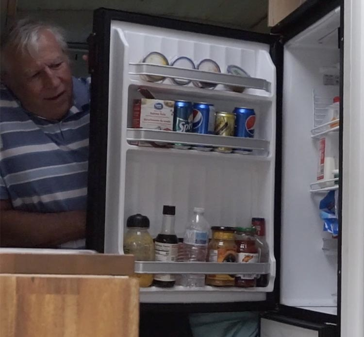 The RV has a full-size fridge