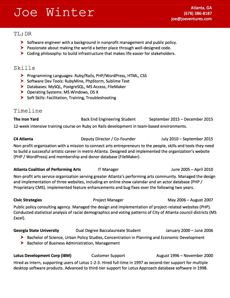 Joe Winter Resume