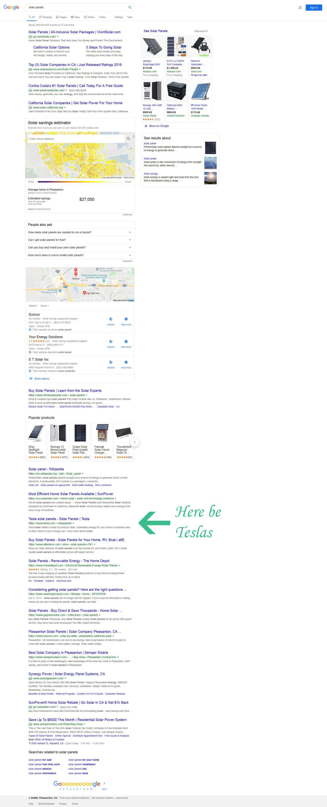 "Serp showing where tesla.com ranks for ""solar panels"", eventually"