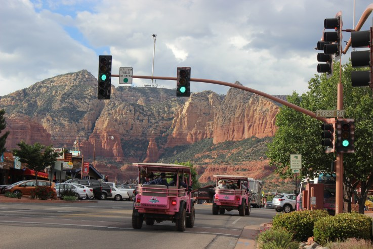 Uptown Sedona where you can find great shopping and dinning or get a tour from the popular Pink Jeep Tours