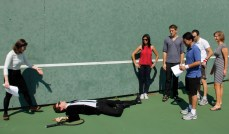 setting up some of the shots on the tennis court