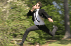 Joe jumps over picnickers in the Sarah Duke Gardens