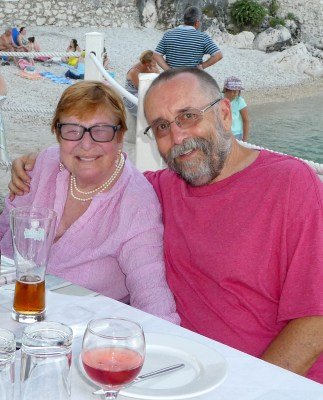 Trip - Di and Joe at Mitsos Taverna, Nissaki, Corfu