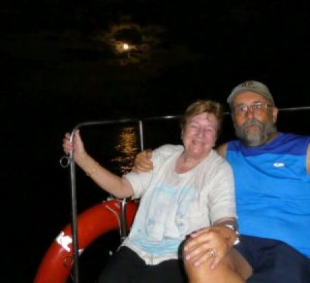 Trip - The Moon, Di and Joe on a water taxi off Corfu