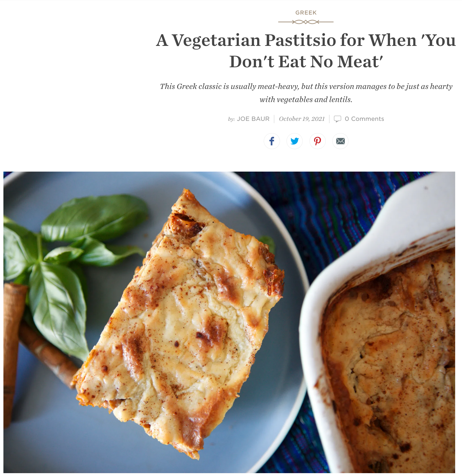 A Vegetarian Pastitsio for When 'You Don't Eat No Meat' - Food52