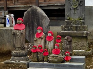 we visited another Buddhist temple (this one is Aomori, Japan), and we saw that the statues were wearing red, as a symbol of joy