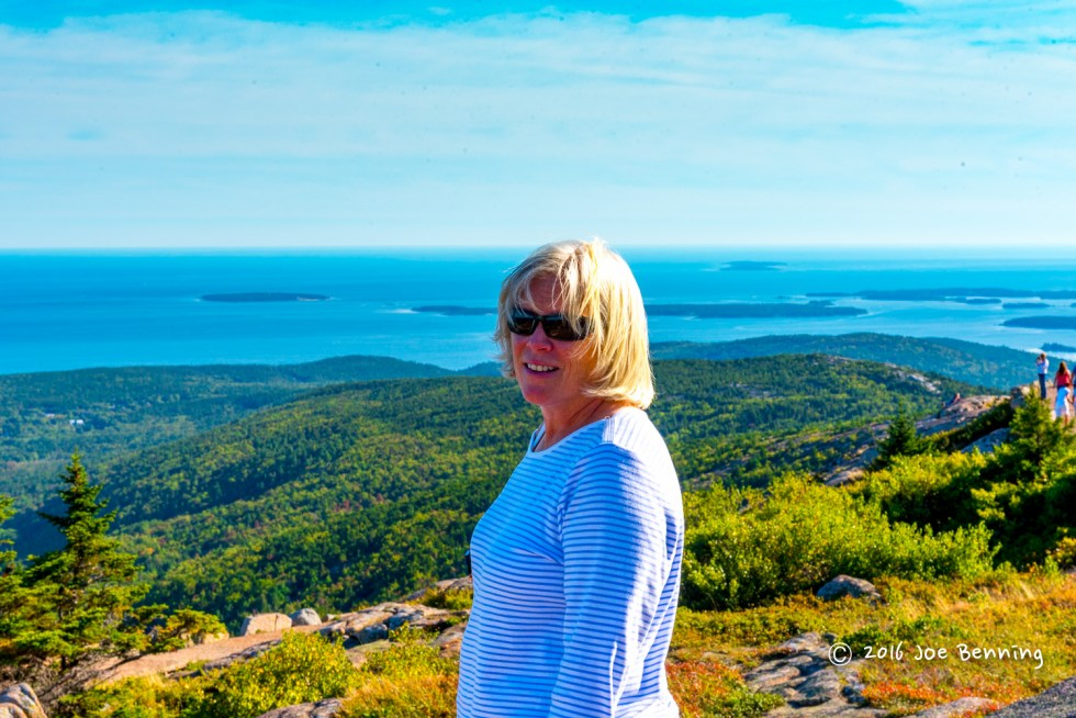 Mary Anne standing on Mt Cadillac