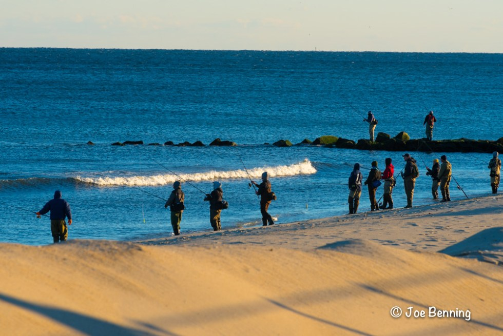 Winter fishermen on the beach at Spring Lake