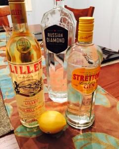 Ingredients for a Vesper Martini