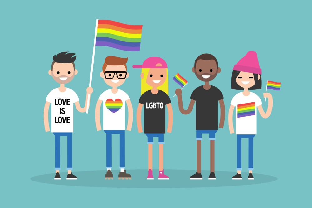 An image of several people waving LGBTQ pride flags.