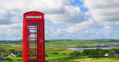 a picture of a phone booth over an expanse. Used on a blog post about grief counseling