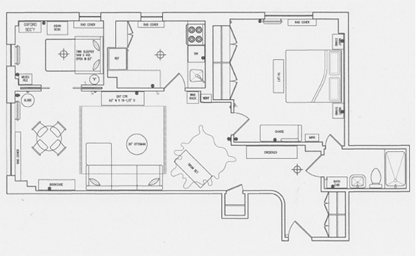 Interior Design New York NYC Joe Cangelosi West Village 1 Bedroom Plan