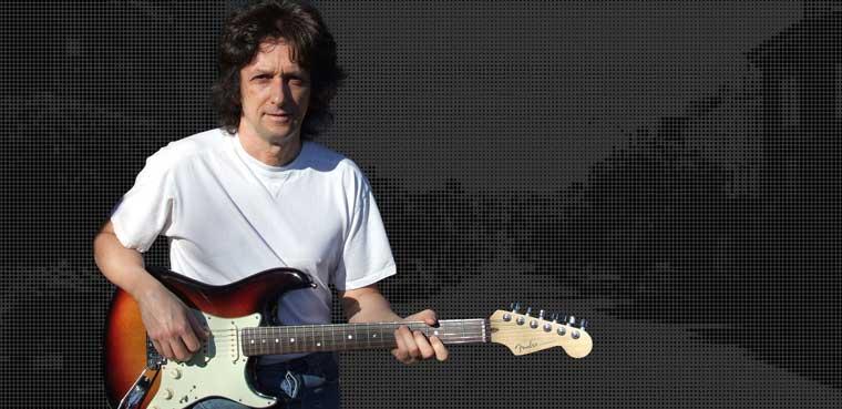 Joe Deloro on electric Fender guitar San Francisco