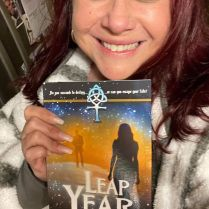 Ashley Pierson with her copy of Leap Year