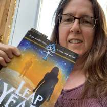 Celia Burkheimer with her new copy of Leap Year