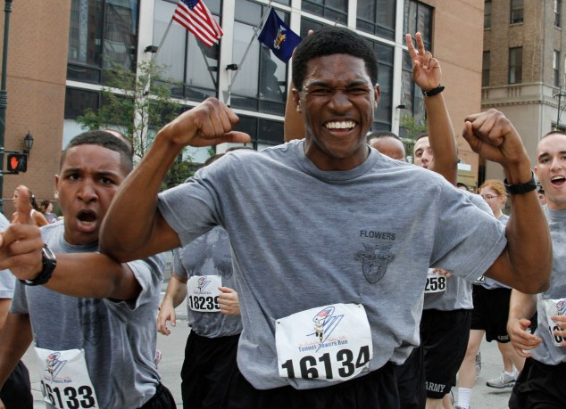 Despite a 4 a.m. wake-up call, West Point cadets show their enthusiasm as they volunteered for the 9th annual Tunnel to Towers Run Sept. 26 in lower Manhattan. Photo by Tommy Gilligan/PV
