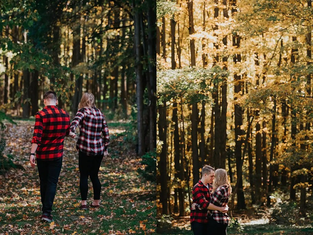couple walking in a forest during their Toronto engagement shoot