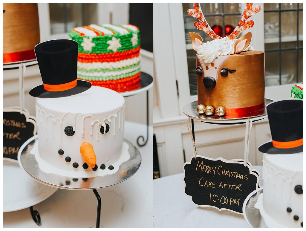 christmas cakes at an elopement wedding