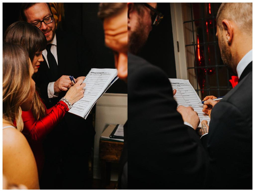 bride and groom signing registry kitchener elopement photography