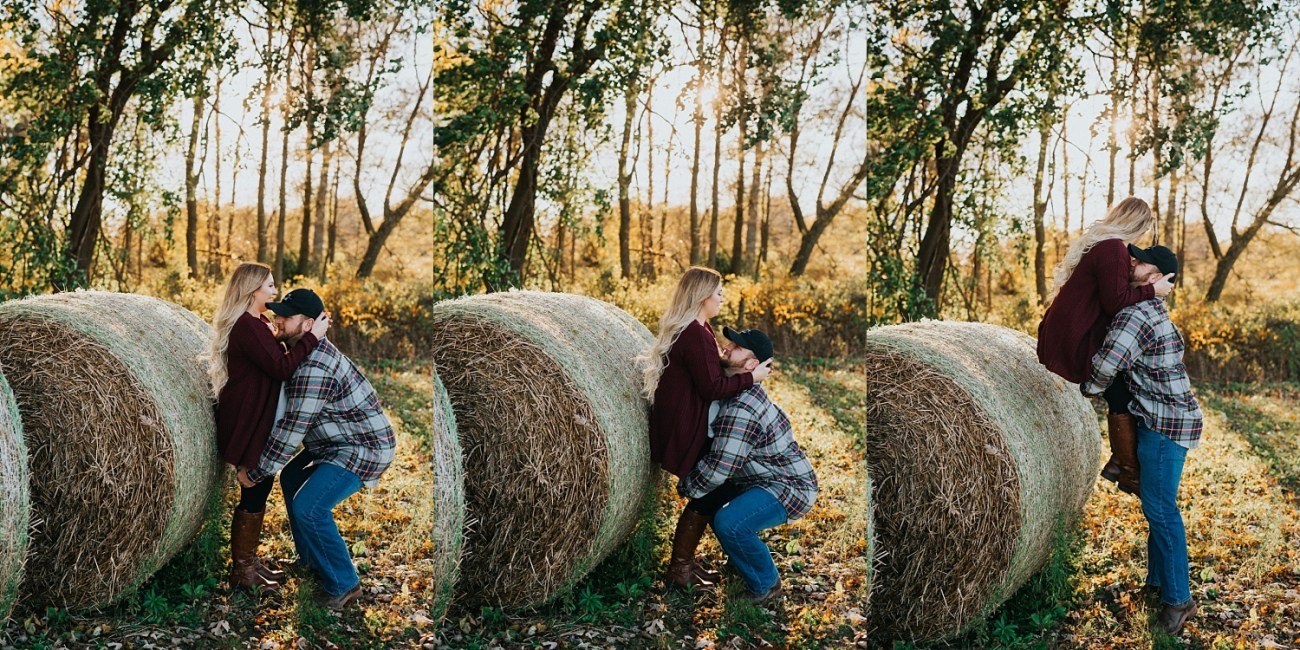 Hay bales are perfect for sitting on | couples posing ideas | fall engagement session ideas | Waterford