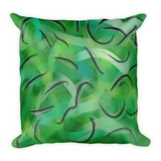 Envy Me Green square pillow