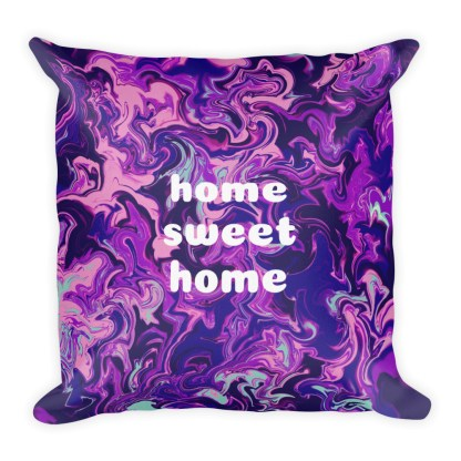 dark purple home sweet home premium throw pillow