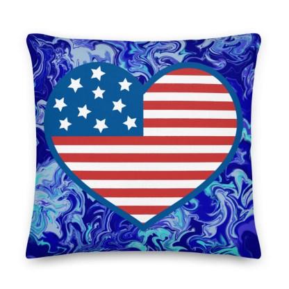 Blue American Flag Heart Premium Pillow