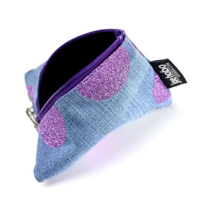 Purple Glitter Polka Dot Triangle Pouch