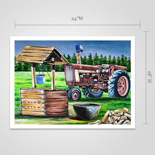 Well and Tractor Print by Johnny Mapp