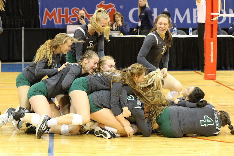 Video/Gallery: Mendon volleyball wins ultimate prize after Division 4 state championship win over Leland