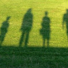 shadows of a family in green grass