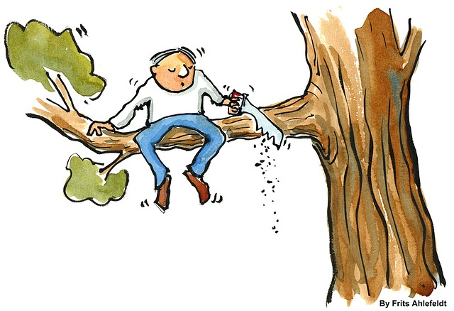 cartoon man sitting on branch he is sawing off from the tree