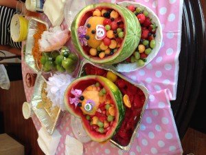 Super cool fruit babies that Stacia's friends made for her baby shower.