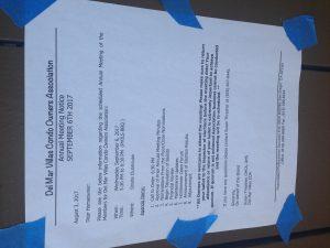 Del Mar Villas Condo Owners Association Annual Meeting Notice 2017