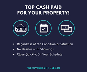 We Buy Fugly Houses banner ad WeBuyFuglyHouses.re