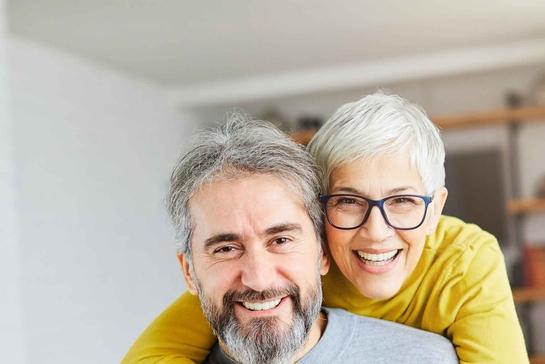 senior couple happy elderly love together man woman portrait gray hair